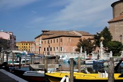 Small harbour in the city of Chioggia royalty free stock photo