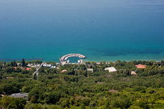 A small harbour on the coastline near Trieste. Italy seen from the via Napoleonica Stock Photography