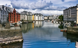 Small harbour in old city of Alesund, Norway Royalty Free Stock Photography