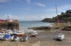 The small harbour at Rozel Bay, Jersey Royalty Free Stock Photo