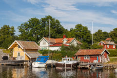 SMall harbour of Vaxholm village Royalty Free Stock Photos