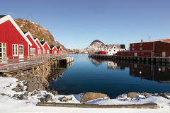 Small harbour of village Mortsund, Lofoten, Norway Royalty Free Stock Photos
