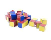 Small heap of color plastic bricks toys Stock Photo