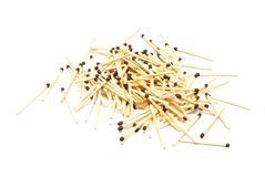 Small heap of many matches on white Stock Image