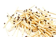 Small heap of matches on white Stock Image