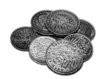 Small heap of old large German coins. Royalty Free Stock Photo