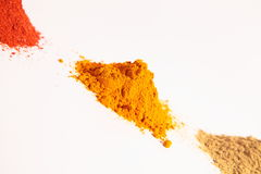 Small heap of spices, Red Chilli Powder, Turmeric  Stock Images