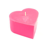Small Heart Candle. One small pink heart shaped candle Stock Photo