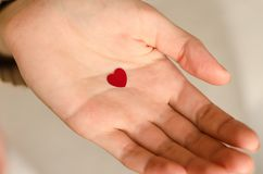 A small heart in a hand of a young girl. Concept of donation Royalty Free Stock Photography