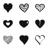 Small heart icons set, simple style. Small heart icons set. Simple set of 9 small heart icons for web isolated on white background vector illustration