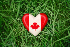 Small heart with red white canadian flag maple leaf lying in grass on green forest nature background outside, Canada day Stock Photography