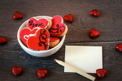 Small heart shape cookies Stock Photos