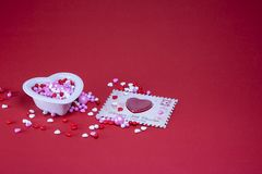 Valentine candy on a red background royalty free stock images