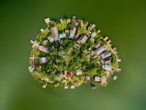 Small heart shaped island on a lake royalty free stock photography