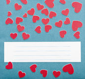 Small hearts and blue wallpaper texture with copy space for your Royalty Free Stock Images