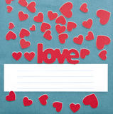 Small hearts and blue wallpaper texture Stock Images
