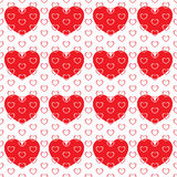 Small hearts in large heart. On a white background with big red hearts. On top of the small hearts. Seamless pattern Stock Photography