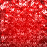 Small Hearts Red Abstract Background Sparkling Stock Photo