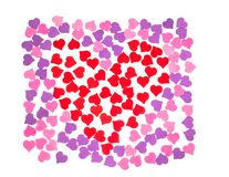 Valentine`s Day, February 14. Inscriptions about love. Small hearts: red, pink, purple color lined on a white background stock illustration