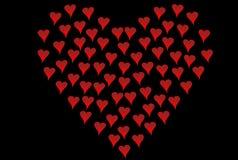 Small hearts shaped like big heart stock photography