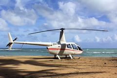 Small helicopter for excursions on a deserted beach. Dominican Republic stock photos