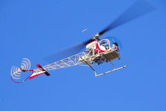 Small Helicopter Overhead Stock Photography