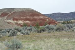 A small hill In Painted Hills Nat`Monument, Central Oregon. This is a small hill in the Painted Hills Nat`Monument, Central Oregon near Mitchell royalty free stock image