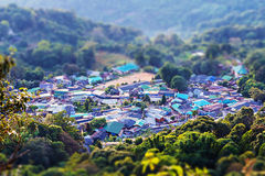 Small hill tribe village in valley Stock Photos
