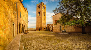 A small hilltop village streets. A small hilltop village cobbled streets in Emilia Romagna in Italy Royalty Free Stock Photos
