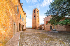 A small hilltop village streets. A small hilltop village cobbled streets in Emilia Romagna in Italy Stock Images
