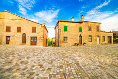 A small hilltop village streets. A small hilltop village cobbled streets in Emilia Romagna in Italy Royalty Free Stock Image