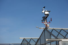 Small hitech meteo station with anemometers. Small meteo station in an industrial farm Royalty Free Stock Image