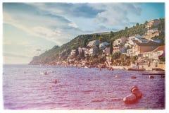Small holiday resort on the Croatian coast at sunset Stock Photos