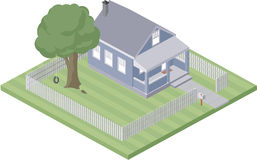 Small home. An illustration of a  small home with a tree swing and a fenced yard Stock Photo