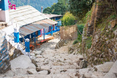 Small home on the way to Annapurna base camp Royalty Free Stock Images
