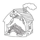 Small home young man black and white Royalty Free Stock Images