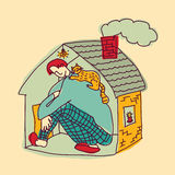 Small home young man color Royalty Free Stock Images