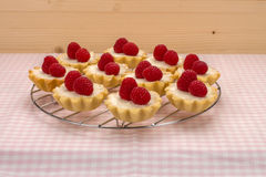 Small homemade cakes with fresh garden raspberries on wooden wal. Homemade small cakes with cream cheese and fresh garden raspberries on a checkered napkin on Royalty Free Stock Photography