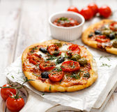 Small homemade vegetable pizza royalty free stock photography