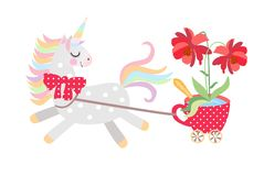 Small horse - unicorn harnessed to cart in the form of red cup on castors with large beautiful flower in it, rides. Isolated on white background in vector vector illustration