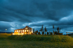 Small hotel and campsite near Godafoss waterfall, Iceland Royalty Free Stock Images