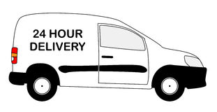 Small 24 Hour Delivery Van. A small white 24 hour delivery van with copy space isolated on a white background Royalty Free Stock Photos