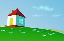 Small house. On a hillock with colours stock illustration