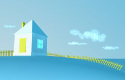 Small house. Winter and a shining sun vector illustration