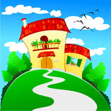 Small house. Vector illustration depicting a small house in the countryside Stock Photography