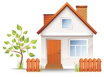 Small house. With nice green court yard and fence,  illustration Royalty Free Stock Image