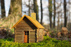 Small house. A small wooden house green Stock Photography