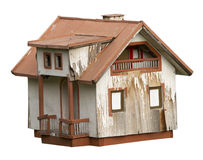Small house. Exterior view of an old house on white background with clipping path Stock Photography