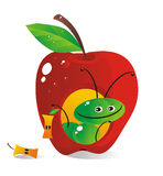 Small house-apple for a cheerful caterpillar Royalty Free Stock Photo