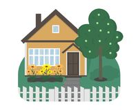 A small house with an apple tree and flowers. Logo. royalty free illustration